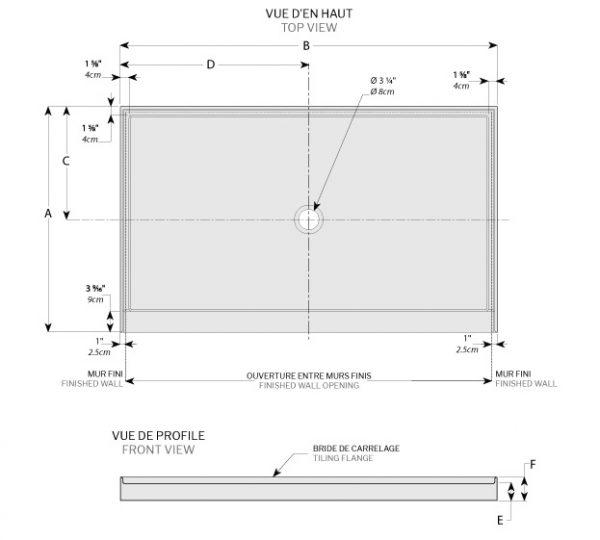 abt in line center drain bases wallsshower base1