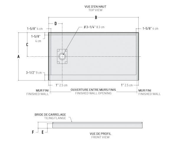 adt in line concealed side drain bases wallsshower base1