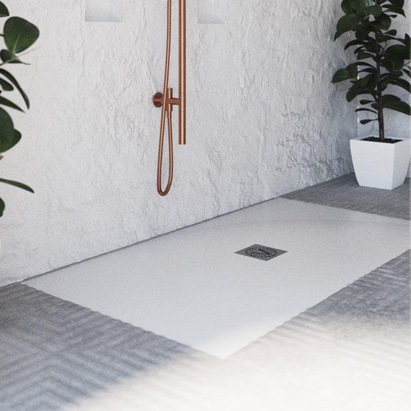 jade shila stone zero threshold center drain shower base