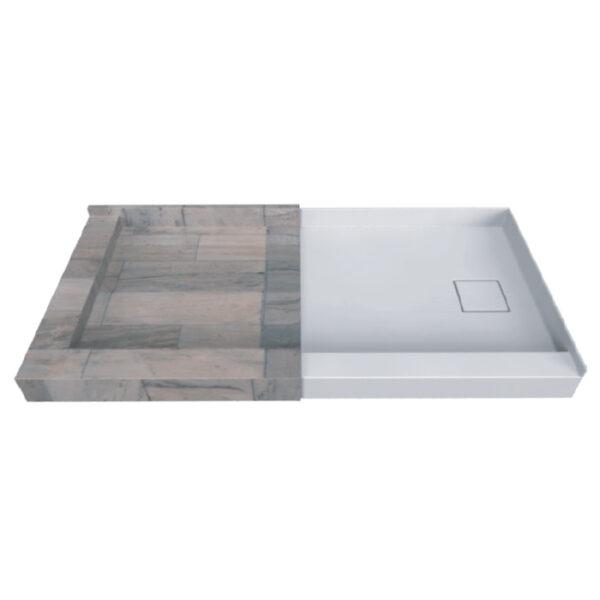 double threshold tileme shower base offset drain (tmsbdtod)