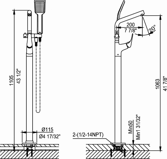 612758c freestanding faucets